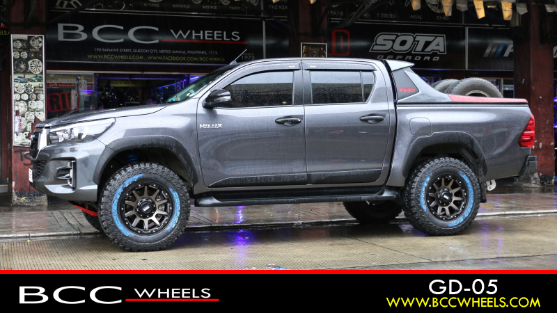 Toyota Hilux With 17 X 9 Inch Grid Off Road Gd 05 Matte Bronze Black Dark Tint Cooper Tires Discoverer S T Ma
