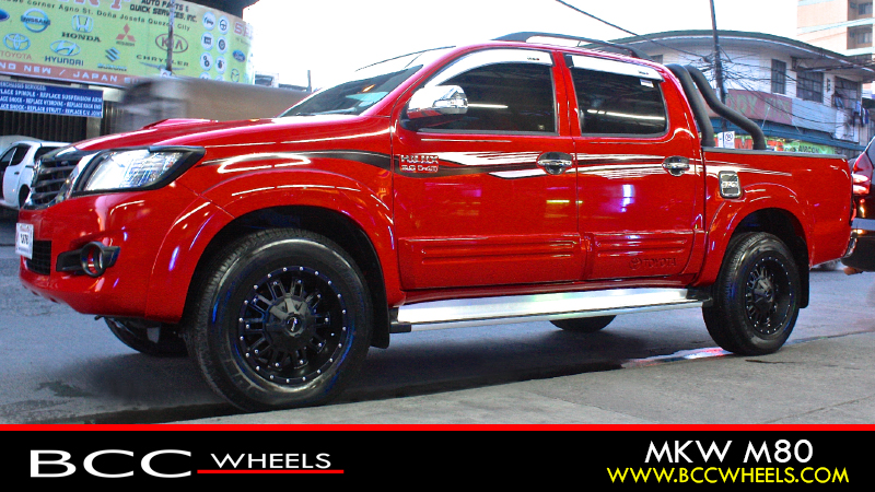 Toyota Hilux With 17 Inch Mkw Off Road Wheels M80 Satin Black