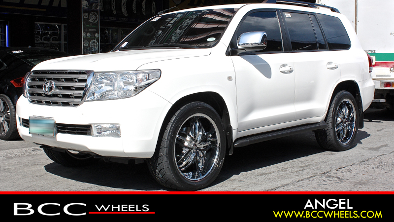 bcc chrome wheels citytoyota landcruiser with 22 inch diablo wheels angel ( chrome with custom black inserts ) \u0026 nitto n 420s